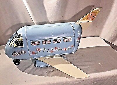 1999 Mattel Barbie Jet Plane Jumbo Blue & White  / Airplane With Sounds