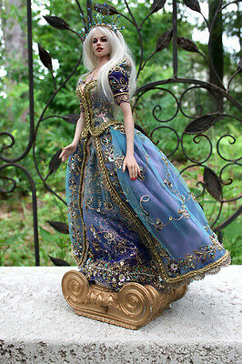 "ALL PORCELAIN 10"" BEAUTIFUL BLONDE LADY DOLL - BLUE GOWN OOAK by Patricia Rose"