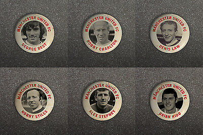 MANCHESTER UNITED FC 60s RETRO STYLE BUTTON PIN BADGES BEST CHARLTON LAW ETC