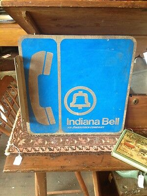 Vintage Indiana Bell Ameritech Telephone Flange Sign Pay Phone Advertising