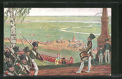 russia Knebel. painting. Dobuzhinsky. In the military settlement