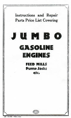 Jumbo Gas Motor Gasoline Engine Book Service Manual Hit Miss Stationary Flywheel