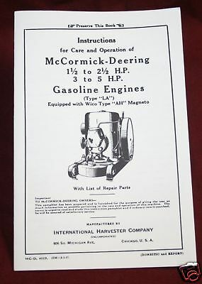 McCormick Deering International LA Gas Hit & Miss Engine Harvester Company Book