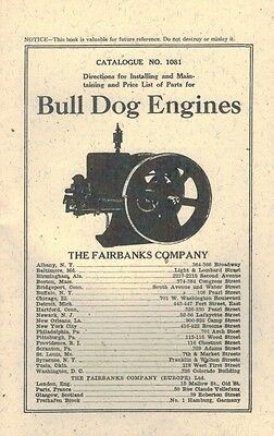 Instruction Book Bull Dog Gasoline Engine Motor Fairbanks Morse Kerosene
