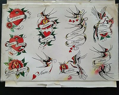 vintage production heart banner swallow British  colored tattoo flash