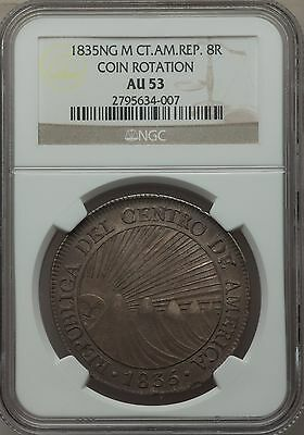 1835 Guatemala 8 Reales silver Central American Republic NGC AU53 coin rotation