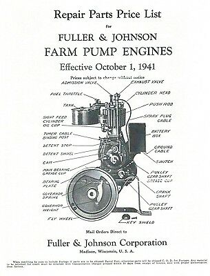 Fuller & Johnson Farm Pump Engines Book Motor Parts List Operating Instructions
