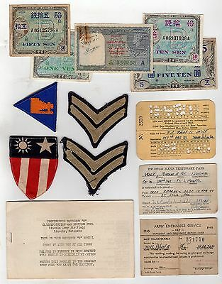 Lincoln Army Air Field Soldiers Id Cards & Military Patches Lot & Occupied Money