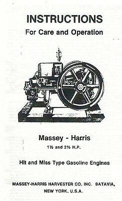 Massey-Harris 1 1/2 and 2 1/2 Hp Hit & Miss Gas Engine Book Parts List Motor