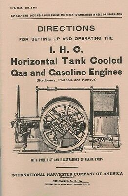 International IHC Horizontal Tank Cooled Gas & Gasoline Engine Directions Book