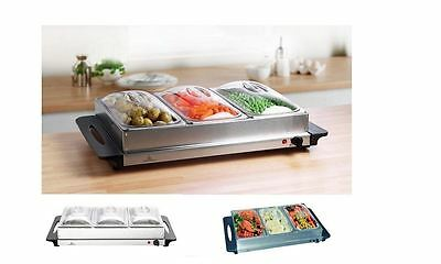3-Pan Stainless Steel Buffet Server and Warming Tray