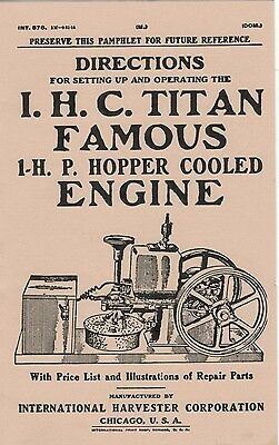 International I.H.C Titan Famous 1 H.P Hopper Cooled Engine Directions Book