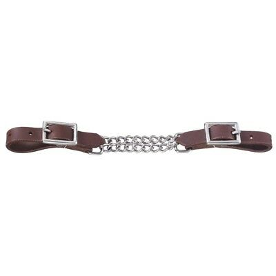 Tough-1 Harness Leather Curb with Double Chain for Western Shank Bits