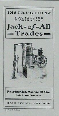 Fairbanks Morse Jack of all Trades Operating Instruction Book Engine Motor SM