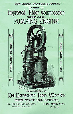 De Lamater Rider Compression Hot Air Pumping Engine Hit Miss Gas Steam Motor