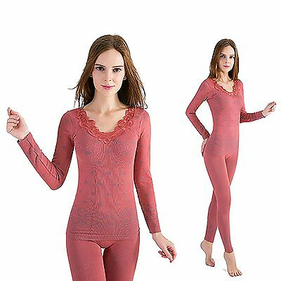 OYBY Women's Lace Stretch Seamless Thermal Underwear Set rouge powder