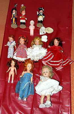 """Vintage Doll Lot, Celluloid,Story Book &Vogue """"Ginny"""" 11 dolls in all! Must SEE!"""