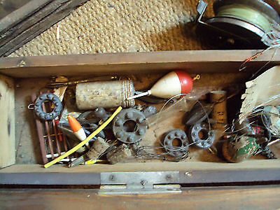 sea fishing tackle reels etc old wooden box.
