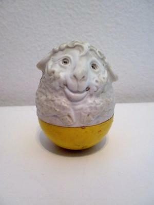 Vintage Airfix Weebles Yellow & White Sheep Lamb Animal Wobble Toy Figure 1970s