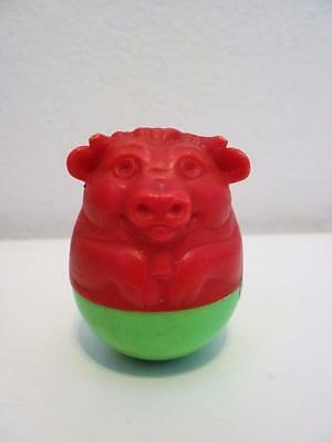 Vintage Airfix Weebles Red & Green Bull Cow Animal Wobble Toy Figure 1970s