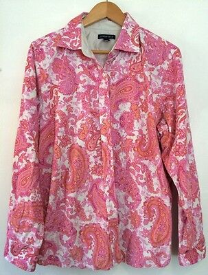 Vintage Style 1960s/60s Paisley Psychedelic Pink Cord Womens Shirt 14-16 Boho