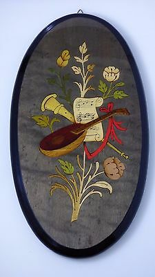 Vintage SORRENTO Mayflower Italy Marquetry INLAID Instruments Wood Wall Plaque