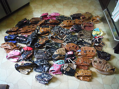 Baseball Glove Lot of 50 Gloves! Rawlings, Wilson, Louisville Slugger, Easton...