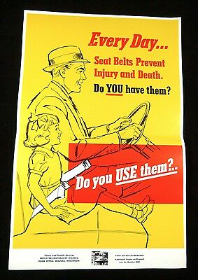 Public Traffic Safety Poster EVERY DAY…SEAT BELTS Employers Mutuals 1950s-1960s