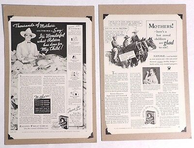 P967 Vintage Lot of 2: TOM MIX RALSTON WHEAT CEREAL Magazine Advertisement 1935[