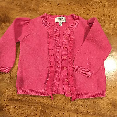 Baby girls Toddler Size 1 BEBE Cardigan pink cotton long sleeve frill front