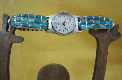Vintage Natural Turquoise Cobblestone Channel Inlay Watch Tips Sterling Zuni