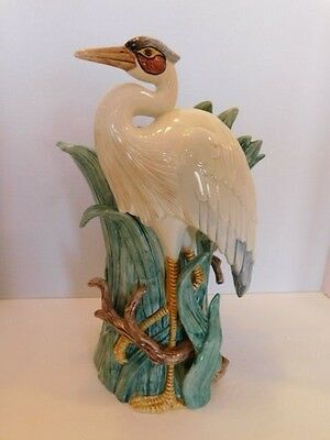Rare Fitz & Floyd Designer Blue Heron Bird  White Bird With Blue Ceramic Vase