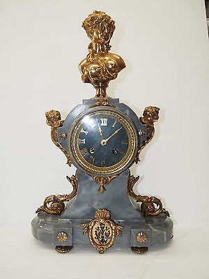 Amazing Antique 1895 French H&F Gray Marble mantel clock