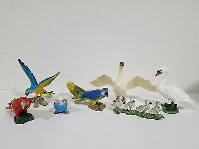 Schleich lot of 8 birds macaw 14690 Budgy Blue 14408 & Green 14409, parrot, swan
