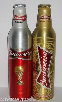2X Budweiser Aluminum Beer Bottles - 2010 & 2014 FIFA World Cup - From China