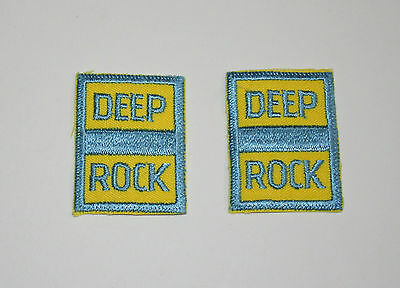 2 Rare Vintage Deep Rock Oil & Gas Station Cloth Jacket Patch New NOS 1970s