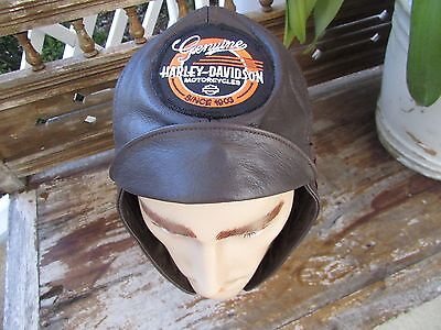 Vintage genuine leather race ride helmet Harley ID med 7 - 7 1/4 adjustabl strap