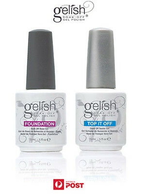 Gelish Harmony Gelish ® Soak Off Gel Nail Polish Base coat Top Coat 15ml Aussie