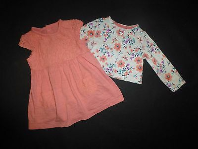 Carter's Baby Girls Coral Pink Lace Romper Dress Floral Cardigan Outfit Set 9 M