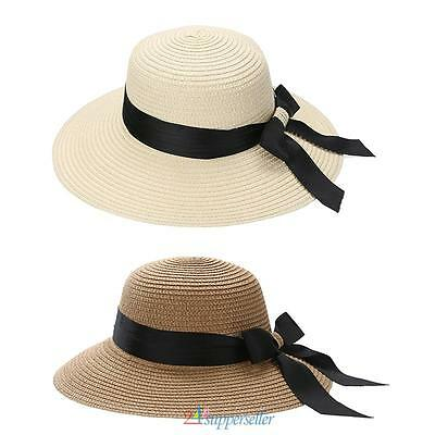 Women Ladies Summer Wide Brim Straw Hat Floppy Derby Beach Sun Foldable Cap New