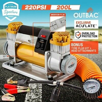 OUTBAC 12v Air Compressor 4x4 Car Tyre 4wd Deflator Inflator 200L/min Portable