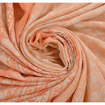 Sanskriti Antique Vintage Printed Saree 100% Pure Silk Craft Peach Fabric Batik