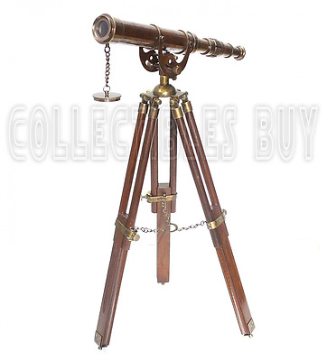 Vintage Antique Tripod Telescope Brass Nautical Telescopes Harbour master stand