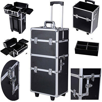 3-in-1 Aluminum Rolling Makeup Case Salon Cosmetic Organizer Trolley Train Case