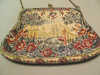 Vintage Jolles Original Small Handbag Purse Evening Floral Tapestry with Chain 6
