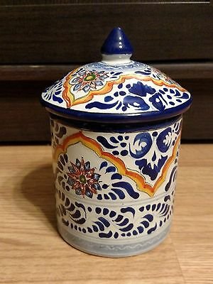 "Ansar Mexico Ceramic Jar Canister Container with Lid-6"" Tall to Top of Lid"