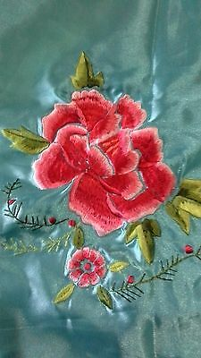 Vintage inspired turquoise blue satin embroidered pillowcases