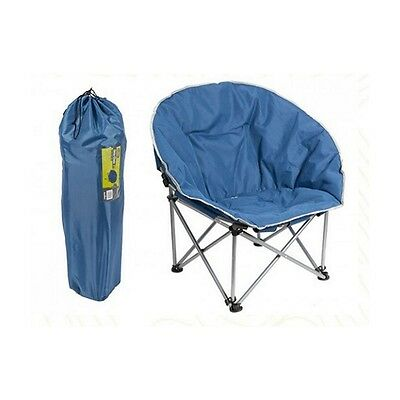 Blue Camping Chair With Carry Bag - Summit Orca Moon Bucket Style Padded Fold