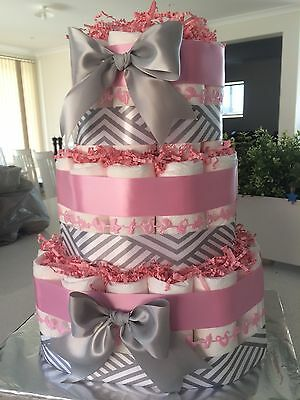 Nappy Cake Personalised Baby Girl Hampers Gift Decor