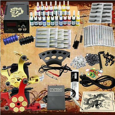 Complet Tattoo Kit de Tatouage 2 Machine Gun à Tatouer 20 Encre Body Art Set NEW